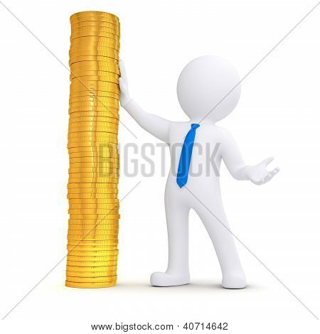 3D White Man Next To A Pile Of Gold Coins