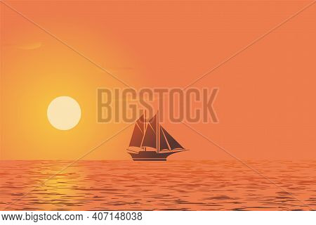 Sunset View With Ship Silhouette Concept Color Gradient. Scenic Background At Sunset Vector Illustra