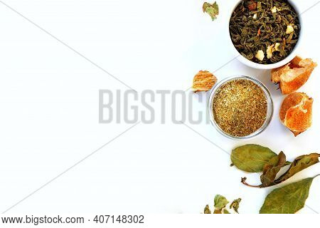 Dried Medicinal Herbs Ingredients For Medicinal Tea, Drink On A White Background. Herbal Treatment C