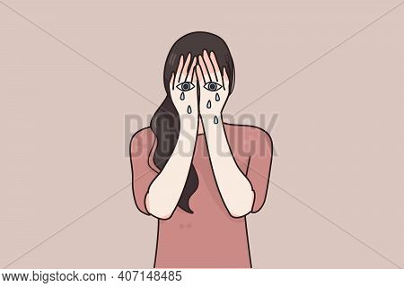 Sorrow, Grief, Despair Concept. Young Woman Cartoon Character Weeping With Eyes Painted On Her Hands