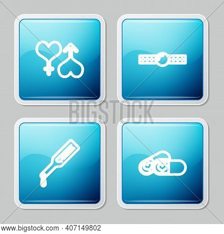 Set Line Male And Female Heart, Silicone Ball Gag, Spanking Paddle And Pills For Potency Icon. Vecto