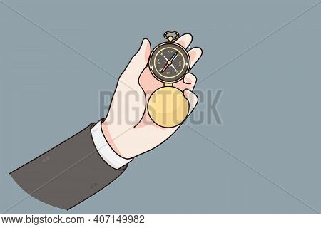 Business Navigation, Growth, Recovery Concept. Hands Of Businessman Holding Compass Navigate To Resu