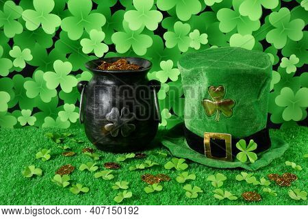 Cast Iron Pot With Four-petal Lucky Shamrock Leaf, Full Of Gold Coins, Leprechaun Hat, Clover Leaves
