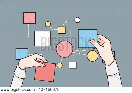 Business Strategy, Planing, Processes Concept. Hands Of Businessman Changing Papers Business Steps F