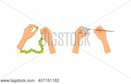 Hands Stringing Beads On Thread And Decorating Easter Egg As Handmade Craft Vector Set