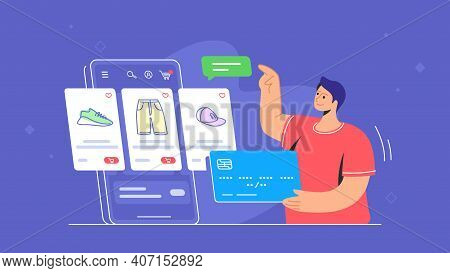 Online Store E-commerce Mobile App Usage By Consumer. Flat Line Vector Illustration Of Young Man Hol