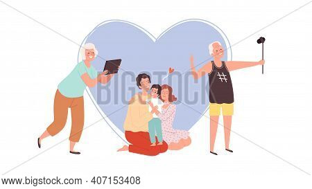 Family Photo. Grandparents Making Image With Phone And Tablet, Young Parents And Kid. Diverse Genera