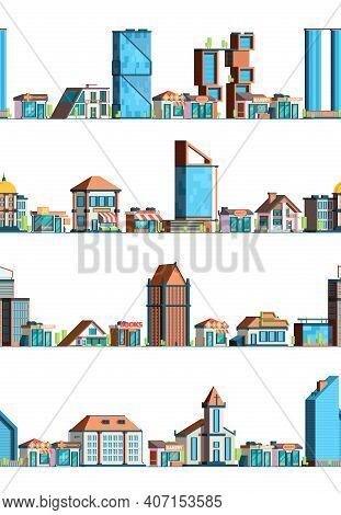 Urban Stores Landscape. City Exterior Building Facades Seamless Background Little European Street Ho