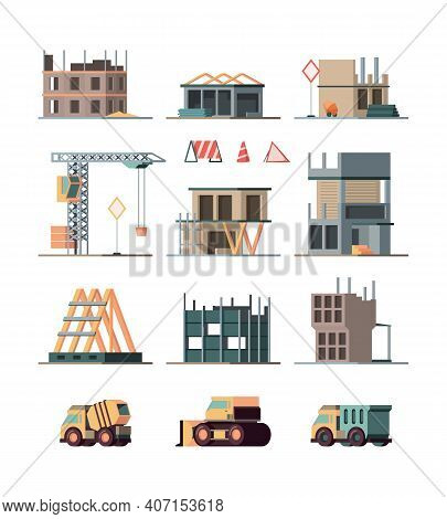 Construction Complex. Engineer Builders Making Big Little Houses Steel And Brick Construction Stages