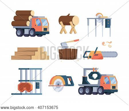 Wooden Industry. Lumber Axe Sawmill Timber Forestry Production Woodcutter Collections Garish Vector