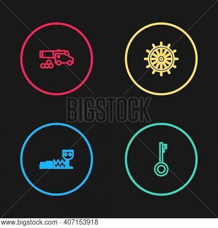 Set Line Treasure And Riches, Pirate Key, Ship Steering Wheel And Cannon With Cannonballs Icon. Vect