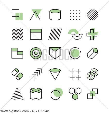 Memphis Templates. Abstract Geometrical Collection For Design Projects Linear Shapes Circles Dots Tr
