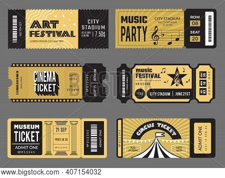 Event Tickets. Entrance Entertainment Tickets To Theatre Cinema Kids Party Soccer Music Concert Rece