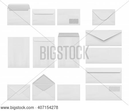 Envelopes Collection. Business Correspondence Letters Realistic Mockup A4 Printing Stationery Decent
