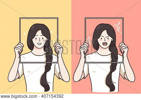 Mental Changes, Contrasts In Mood Concept. Women Holding Frames With Happy Laughing Cheerful And Ang