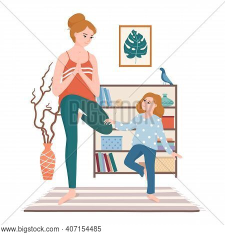 Mother And Daughter Doing Yoga Together, Standing In Vrikshasana, Tree Pose In The Living Room, Flat