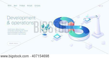 Web Development Or Devops Concept In Isometric Vector Design. Developing Of Internet App Or Online W