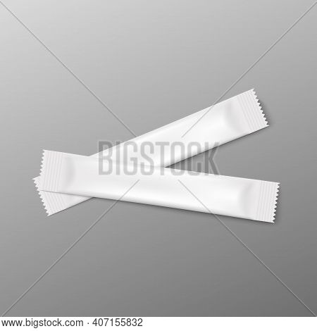 Food Stick Packs Laying Criss-cross, Realistic Vector Illustration Isolated.