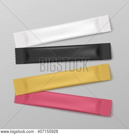 Stick Packs, Foil Bags, Sachet Or Container For Package A Vector Illustration.