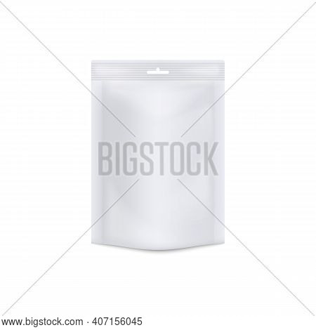 White Doy Pack Mockup - Realistic Blank Plastic Bag With Sealed Edge