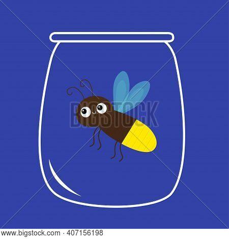 Firefly Jar. Beetle Bug. Insect Animal. Cartoon Kawaii Funny Smiling Baby Character. Brown Color. Sh