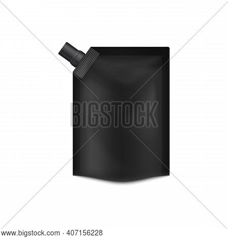 Template Of Blank Square Black Doypack With Lid, 3d Vector Illustration Isolated.