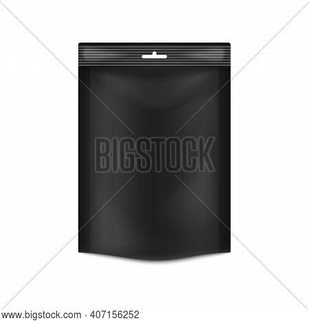 Container Doypack - Plastic Vacuum Black Pouch For Food A Vector 3d Illustration