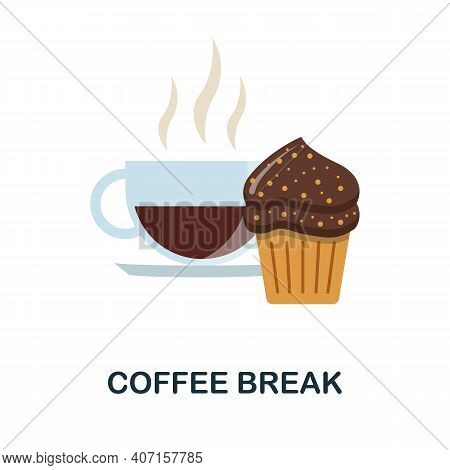 Coffee Break Flat Icon. Color Simple Element From Coffee Collection. Creative Coffee Break Icon For