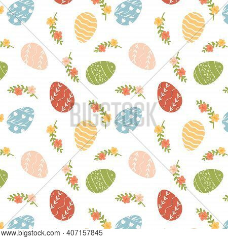Happy Easter Seamless Pattern With Decorated Various Ornaments Of Eggs On White Background And Bloom