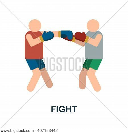 Fight Flat Icon. Color Simple Element From Combat Sport Collection. Creative Fight Icon For Web Desi