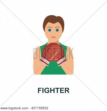 Fighter Flat Icon. Color Simple Element From Combat Sport Collection. Creative Fighter Icon For Web