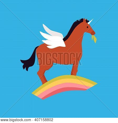 Fairytale Winged Unicorn Pony Horse Standing On Rainbow In The Sky