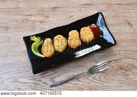 Fried Chiken Nugget Meat Dipping Ketchup On Plate