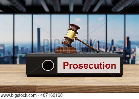 Judge Gavel Standing On Black Office Binder File Folder Wooden Desk In Large Modern Office Building;