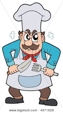 Angry Chef With Knife And Fork