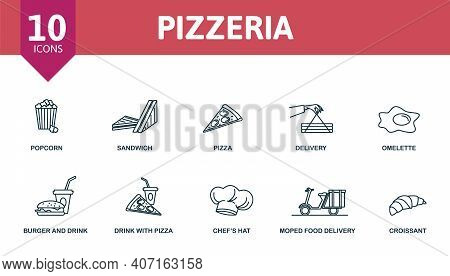Pizzeria Icon Set. Collection Contain Donuts, Omelette, Popcorn, Sandwich, Pizza And Over Icons. Piz