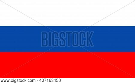 Russia Flag. Icon Of Russian Federation. Button Of Russia And Moscow. Illustration Of Official Flag