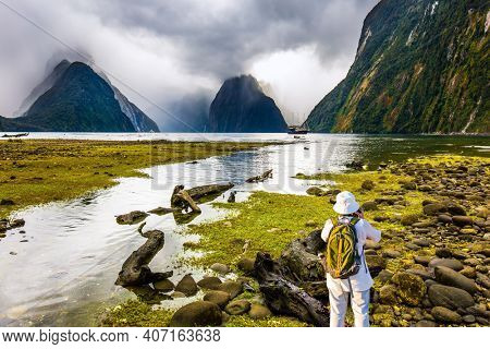 Elderly woman with backpack photographs picturesque landscape. Milford Sound fjord shore overgrown with marsh grass. New Zealand. Concept of exotic, active and photographic tourism