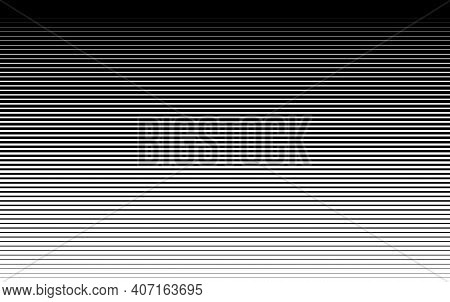Pattern With Gradient Horizontal Halftone Line. Abstract Background With Parallel Lines From Thick T