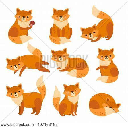 Cute Cartoon Fox. Forest Foxes, Red Animals With Fluffy Tails. Flat Foxy Character Running Or Standi