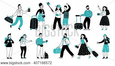 Tourists Characters. Travel People, Tourist Vacation Or Journey. Person With Luggage And Backpacks,