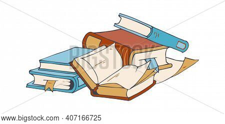 Book Store Elements. Sketch Books, Blank Paper Sheets. Doodle Vintage Reading Illustration, Isolated