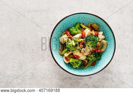 Chicken Stir Fry With Vegetables And Mushrooms. Top View