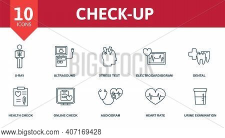 Check Up Icon Set. Collection Contain Vital Sign, Electrocardiogram, X-ray, Ultrasound, Dental And O