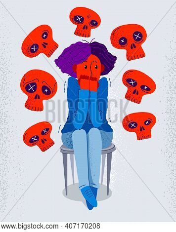 Thanatophobia Fear Of Death Vector Illustration, Girl Surrounded With Imaginary Dead Skulls In Fear
