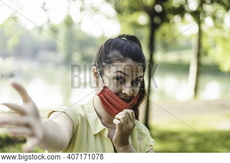 Smiling Woman Enjoy Life At The Park Breathing Fresh Air After Coronavirus Outbreak - New Normal Con