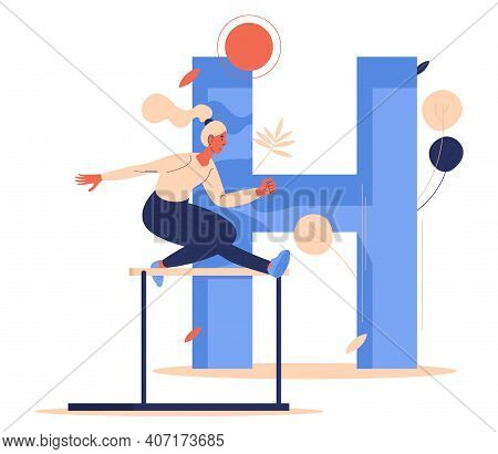 Hurdling Training Woman With Letter H On Background. Vector Sport Character Jumping Over Barrier.