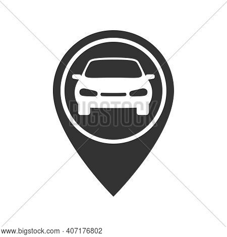 Map Pointer With Car Graphic Icon. Rent A Car Sign Isolated On White Background. Symbol Of Car Shari