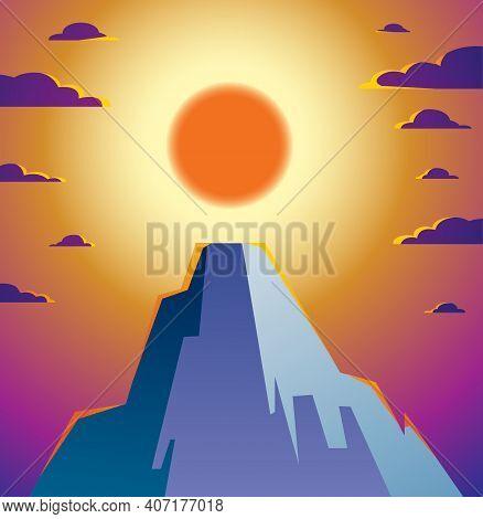 Beautiful Mountain Landscape With Setting Sun In The Evening, Sundown Over Peak Scenic Nature Vector