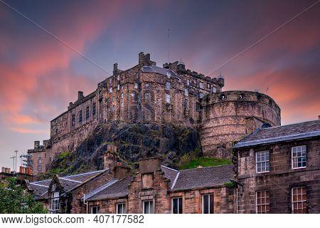 view on Edinburgh Castle from Heriot place during sunset, Edinburgh, Scotland, UK